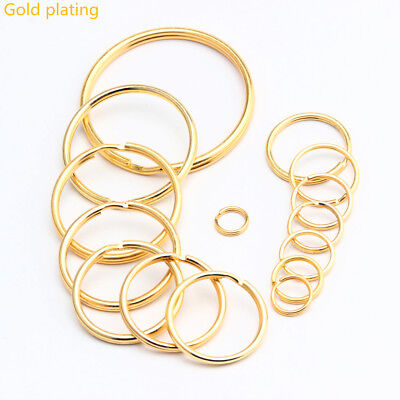 Lot gold Keyring Split Key Rings Hoop Ring Elastic Loop10 20 50 100PCS All Size