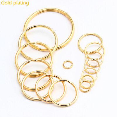 Lot gold Keyring Split Key Rings Hoop Ring Elastic Loop10 20 50 100PCS All Size