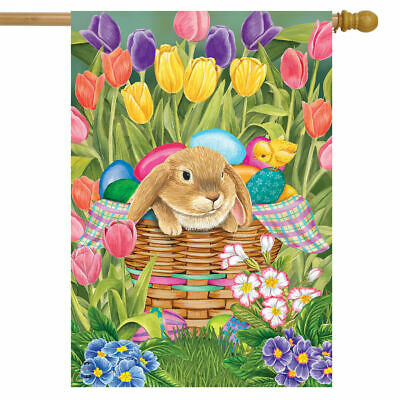 SPRING EASTER BUNNY RABBIT WITH TULIPS AND EGGS  HOUSE FLAG 28X40 BANNER  - Easter Flag