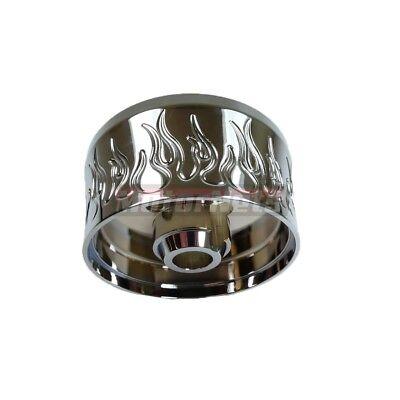 Chrome Aluminum Steering Wheel (Chrome Billet Aluminum Steering Wheel Column Adapter Hub GM 67-94 Flamed 9 hole )