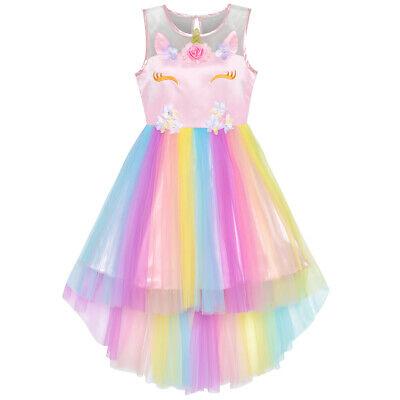 US STOCK! Flower Girls Dress Unicorn Rainbow Pageant Princes
