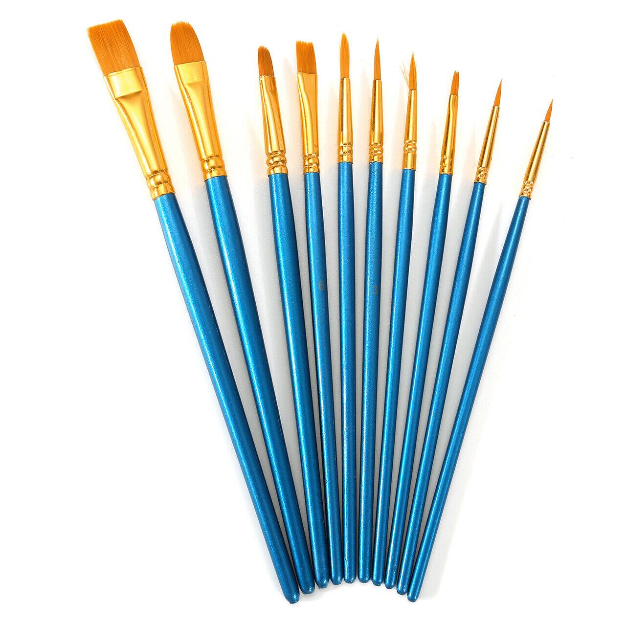 Pro 10 Artist Paint Brushes Set Kit Lot Oil Watercolour Pain
