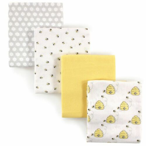 HUDSON BABY NEUTRAL 4 PACK COTTON FLANNEL RECEIVING BLANKETS