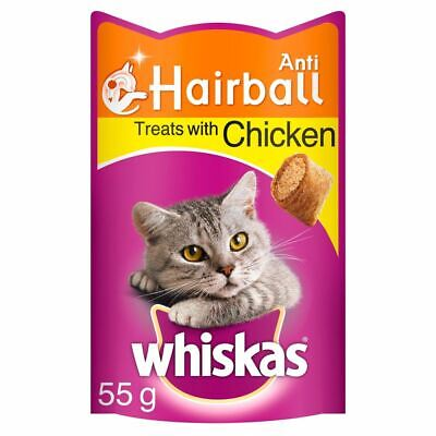 Whiskas Anti-Hairball Cat Treats with Chicken 55g, 2 Pack