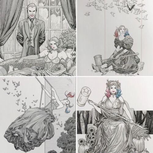 FRANK CHO rare HARLEY QUINN Black & White print SET OF 4 covers 12 x 16 LAST ONE