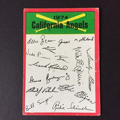 1974 Topps CALIFORNIA ANGELS Clean Team Checklist