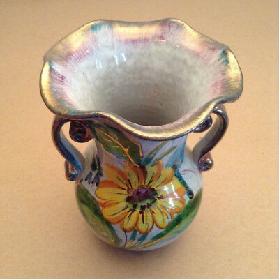 Vintage Hand Painted Porcelain Flower Vase Container Made in Italy