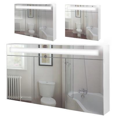 Badspiegelschrank inkl. Beleuchtung Bad Spiegel Aufbewahrung Schrank 90cm 120cm