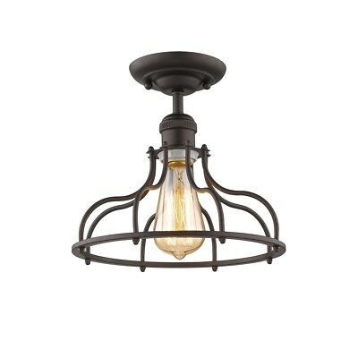 "Industrial Ceiling Semi Flush Light Fixture Cage 1 Bulb Rubbed Bronze 10"" Wide"