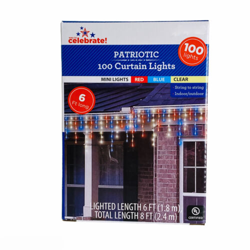 Americana Red White Blue Patriotic 100 Curtain Lights Indoor Outdoor Decoration