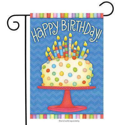 Happy Birthday Garden Flag - Happy Birthday Garden Flag Cake Candles 12.5