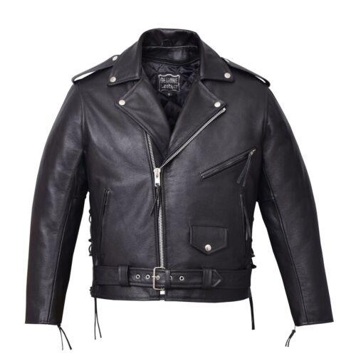 New Mens Black Genuine Buffalo Leather Motorcycle Jacket Coat Biker Zipout Liner