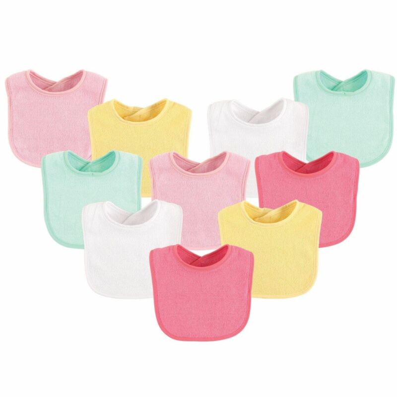Luvable Friends Girl Feeder Bibs, 10-Pack, Girl Yellow Solid