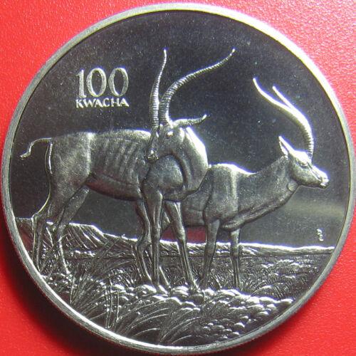 1998 ZAMBIA 100 KWACHA GAZELLE AFRICAN WILDLIFE RARE! CU-NI CROWN (no silver)