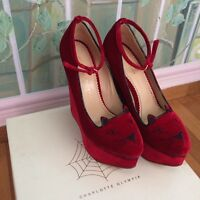 Charlotte Olympia Kitty Collection Scarpa Tacco Tessa Velluto Rosso Size 40 - charlotte olympia - ebay.it