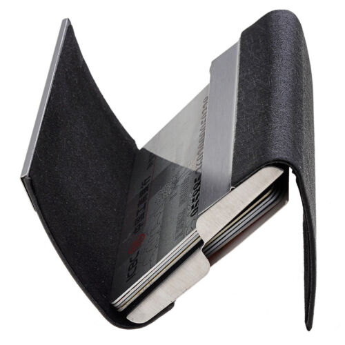 Two Side Open Black PU Leather Stainless Steel Name Business ID Card Case Holder