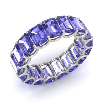 Tanzanite Emerald Eternity Ring (8.84 Ctw Natural Emerald-Cut Tanzanite Eternity Wedding Ring in 14k White)