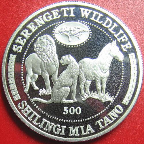 1998 TANZANIA 500 SHILINGI 1oz SILVER PROOF LION CHEETAH ZEBRA SERENGETI ANIMALS