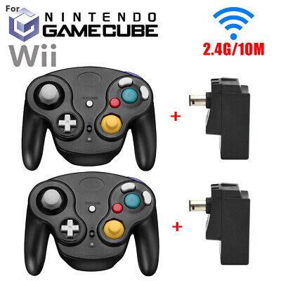Wireless Gamecube Controller Wavebird Style w/ Adapter For Nintendo NGC GC Black Nintendo Wavebird Gamecube Controller