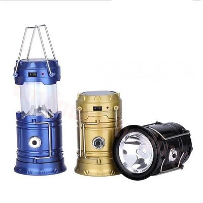 6 LED PortabIe USB SoIar RechargeabIe Lantern Outdoor Camping Hiking Lamp Light