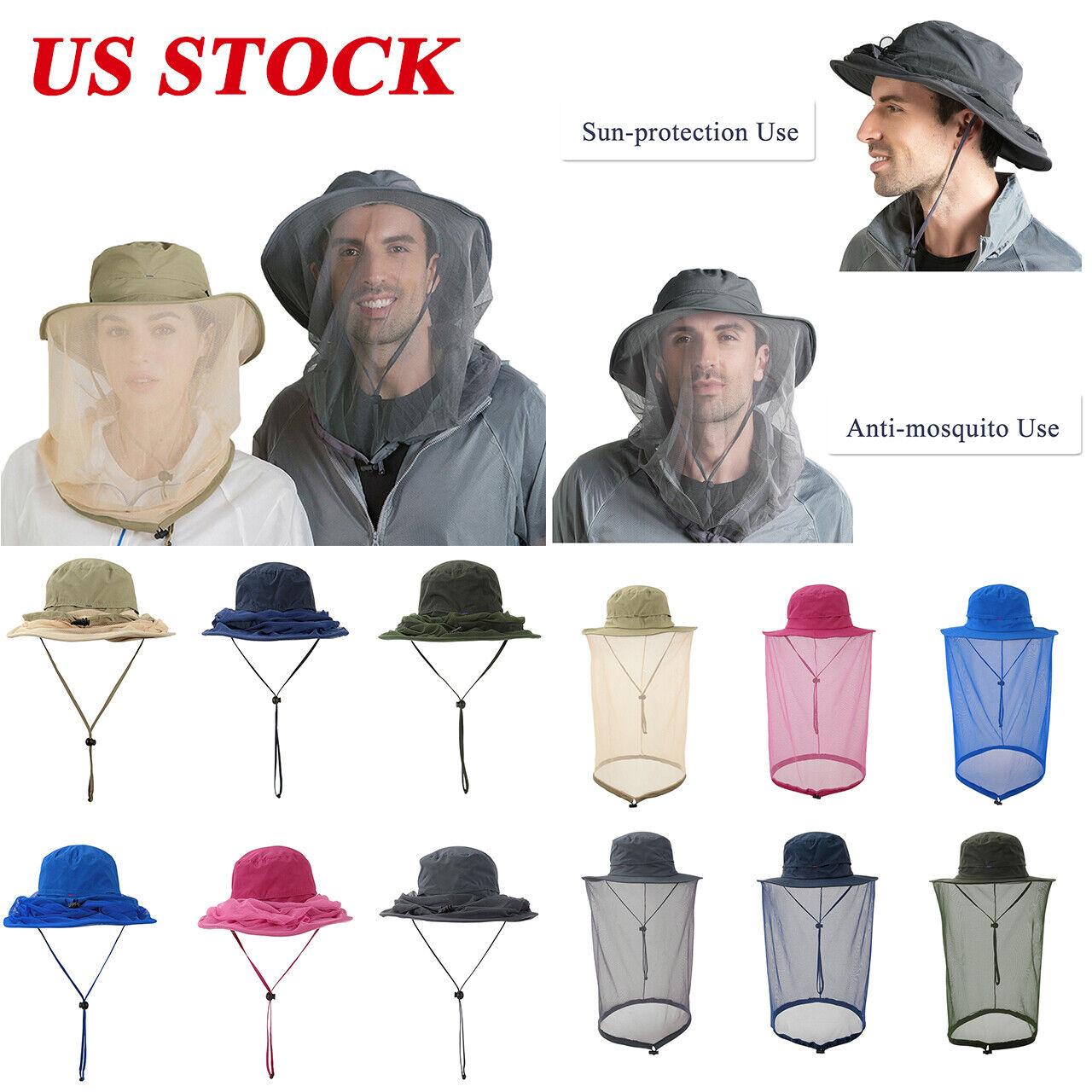 Outdoor Mosquito Head Net Hat Women Men Sun Hat with Mesh Fa