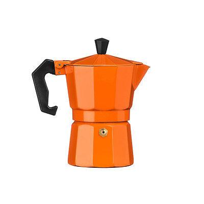 Stove Top 3 Cup Orange Espresso Maker Percolator Jug Aluminium Moka Coffee Pot