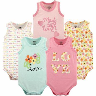 Luvable Friends Girl Sleeveless Bodysuits, 5-Pack, Love
