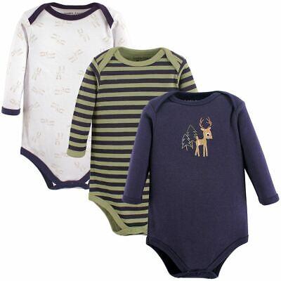 Luvable Friends Boy Unisex Baby Long-Sleeve Bodysuits, Deer 3-pack