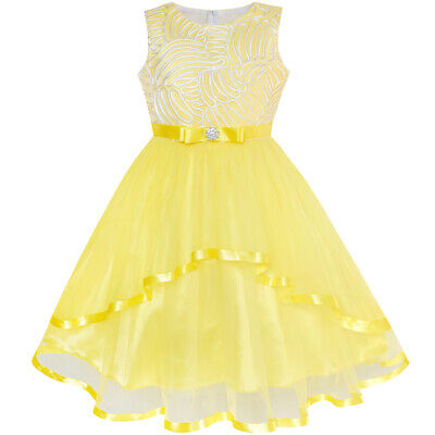 US STOCK! Flower Girl Dress Yellow Belted Wedding Party Bridesmaid Size 4-12
