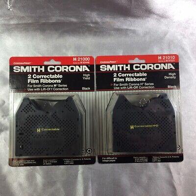 New Lot Of Two 2pks Smith Corona Correctable Film Ribbons Black H21010 H67231