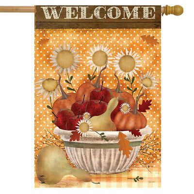 "Harvest Bounty Autumn House Flag Primitive Fall Welcome 28"" x 40"" Briarwood Lane"