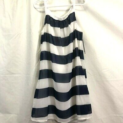 Nautica girls navy and white wide striped rope tank lined dress nwt size 7