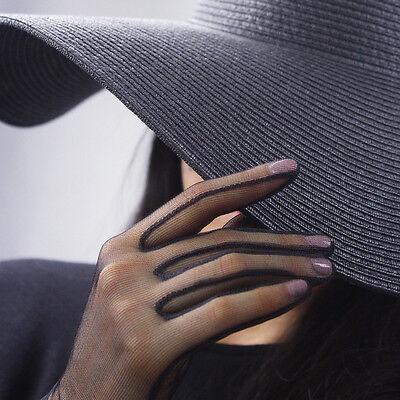Short White Gloves (Tulle Gloves Lace Semi Sheer Mesh Short TECH Touchscreen Sensitive Black)