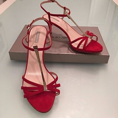 Giorgio Armani heels sandals in Red suede leather Sz EU 38M /US 8.5 New in Box