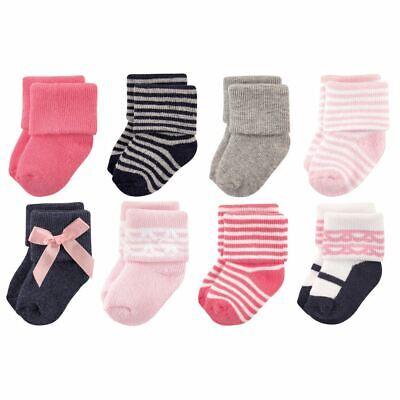 Luvable Friends Girl Socks, 8-Pack, Pink Scroll