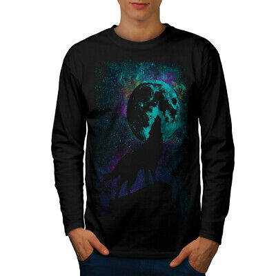 Wellcoda Howling Wolf Pack Mens Long Sleeve T-shirt, Wild Graphic Design Wolfpack Designs