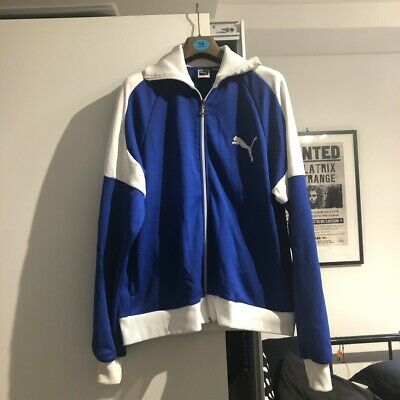 Vintage Retro Blue And White Puma Jacket
