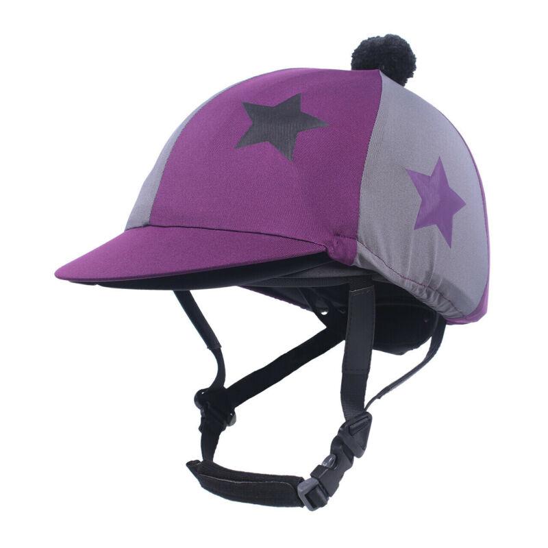 QHP Vegas Helmet Cover - Berry plum & grey with stars QHP