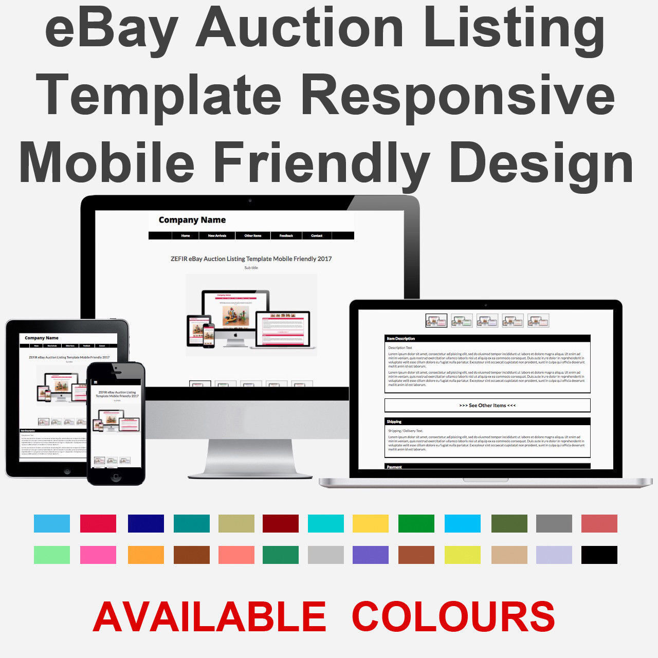 Black EBay Auction Listing Template Responsive Image Photo Gallery - Ebay item template