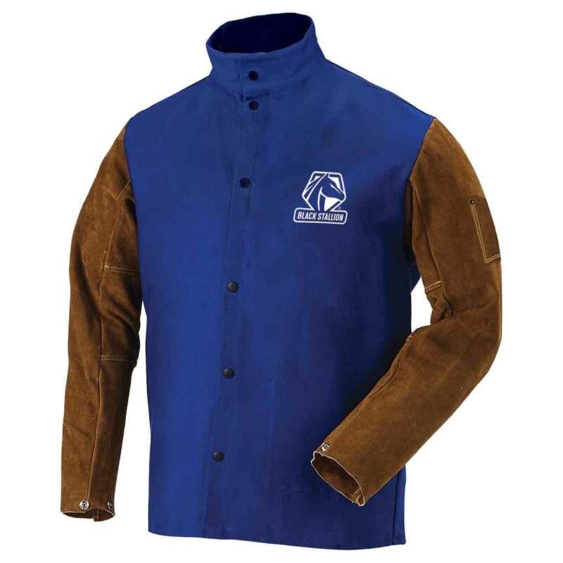 Black Stallion FRB9-30C Hybrid FR Cotton Cowhide Welding Jacket Blue X-Large