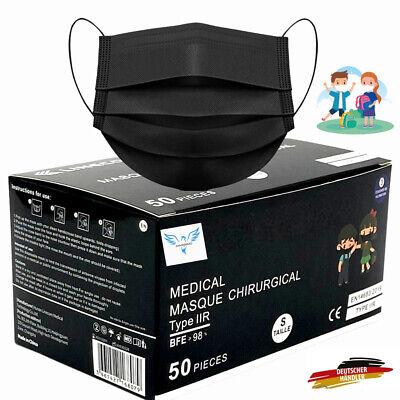50 Medizinische Kinder Maske OP Masken Mundschutz Atemschutz EN14683 SCHWARZ