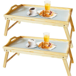 2 breakfast bed serving lap tray laptop pine table mate - Table petit dejeuner lit ...