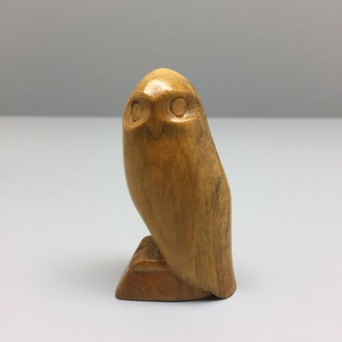 Cherokee Indian Owl Wood Carving Signed D. French in the Style of Amanda Crowe