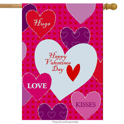 "Hugs & Kisses Valentine's Day House Flag Hearts Love 28"" x 40"""