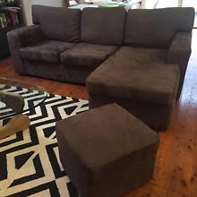 Chocolate Brown Suede Chaise Lounge with matching square Ottoman Mosman Mosman Area Preview