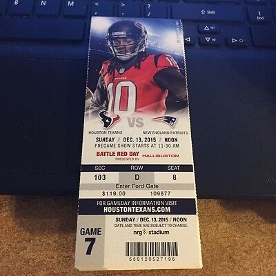 2015 HOUSTON TEXANS VS NEW ENGLAND PATRIOTS TICKET STUB 12/13 DEANDRE HOPKINS