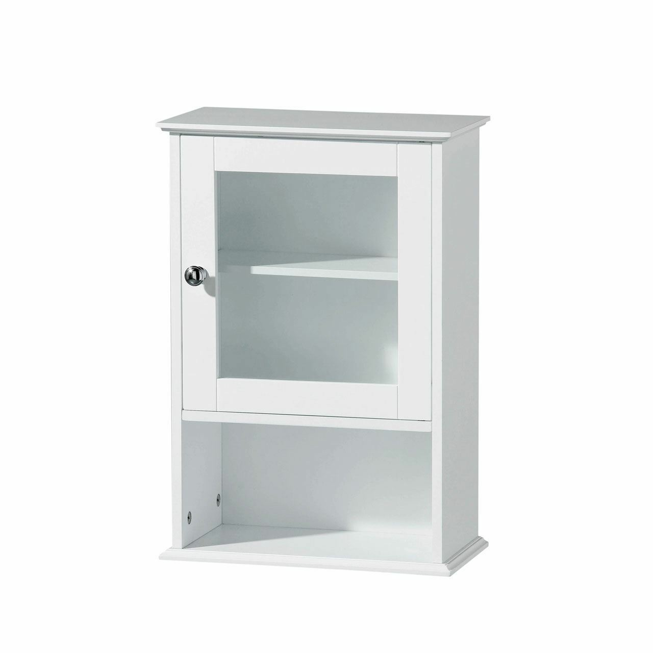 White Wooden Wall Mounted Bathroom Storage Cabinet With Glass Door