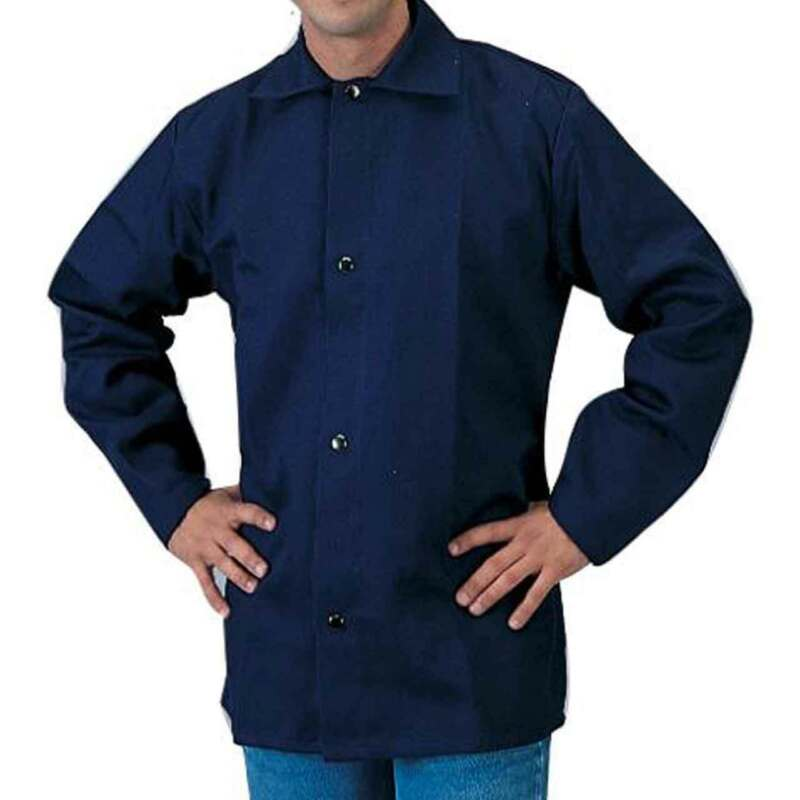 "Tillman 6230B 30"" 9 oz. Navy Blue FR Cotton Welding Jacket Large"