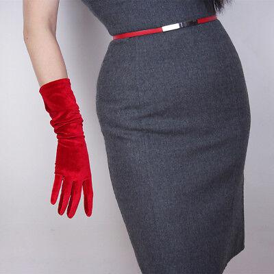 Velvet Gloves Opera Elbow Long Elastic Stretchy Velours Flannel Red Touchscreen](Red Long Gloves)