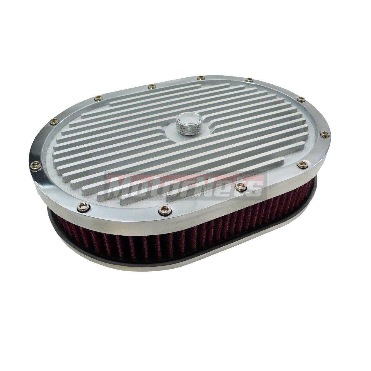 """12/"""" Oval Classic Polished Ful Finned 4 Brl Aluminum Air Cleaner Kit SBC BBC"""